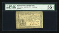 Colonial Notes:Pennsylvania, Pennsylvania April 10, 1777 8s PMG About Uncirculated 55 EPQ....