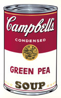 Fine Art - Work on Paper:Print, ANDY WARHOL (American, 1928-1987). Campbell's Soup: GreenPea, 1968. Screenprint in colors. Artist Proof. Signedverso:...
