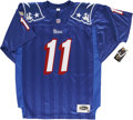 Football Collectibles:Balls, Drew Bledsoe Signed Jersey with Donruss Studio Cards Group Lot of 3....