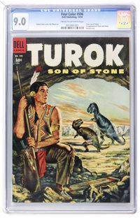 Four Color #596 Turok (Dell, 1954) CGC VF/NM 9.0 Cream to off-white pages