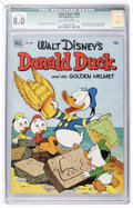 Golden Age (1938-1955):Funny Animal, Four Color #408 Donald Duck (Dell, 1952) CGC Qualified VF 8.0 Creamto off-white pages....