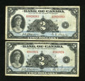 Canadian Currency: , A Pair of BC-3 $2 1935 Notes.. ... (Total: 2 notes)