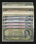 Canadian Currency: , 1954 Starter Set.. ... (Total: 16 notes)