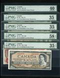 Canadian Currency: , Five PMG Graded Bank of Canada Notes.. ... (Total: 5 notes)