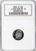 Proof Roosevelt Dimes: , 1981-S 10C Type One PR69 Ultra Cameo NGC. NGC Census: (481/9). PCGSPopulation (5382/101). Numismedia Wsl. Price for NGC/P...