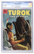 Silver Age (1956-1969):Adventure, Turok #4 (Dell, 1956) CGC VF- 7.5 Off-white to white pages....