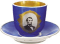 Political:3D & Other Display (pre-1896), Abraham Lincoln: Photographic Portrait Cup with Saucer, ...