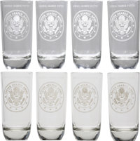 """General George S. Patton: A Set of Four of His Personal Etched Highball Glasses. Four 7½"""" glasses, each etch..."""