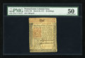 Colonial Notes:Pennsylvania, Pennsylvania March 20, 1771 20s PMG About Uncirculated 50....