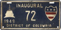 Political:Inaugural (1789-present), Harry S Truman: 1949 Inaugural License Plate, District of Columbia....