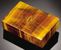 Lapidary Art:Boxes, 'CANDLE FLAME' TIGER'S-EYE BOX. ...