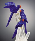 Lapidary Art:Carvings, TRIO OF LAPIS MACAWS ON CRYSTAL BASE. ... (Total: 3 Items)