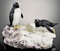 Lapidary Art:Carvings, PENGUIN COUPLE ON ALBITE. ... (Total: 3 Items)