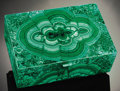 Lapidary Art:Carvings, LARGE DECORATIVE MALACHITE BOX. ...