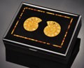 Lapidary Art:Boxes, AMMONITE INLAY BOX WITH TIGEREYE. ...