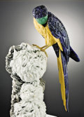 Lapidary Art:Carvings, ANIMATED SODALITE MACAW ON ALBITE WITH MICA. ...