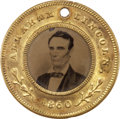 Political:Ferrotypes / Photo Badges (pre-1896), Lincoln & Hamlin: Superb 1860 Campaign Two-Sided Ferrotype....