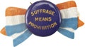 """Political:Ribbons & Badges, Woman's Suffrage: """"Suffrage Means Prohibition"""" Pinback Button...."""