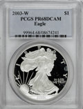 Modern Bullion Coins: , 2003-W $1 Silver Eagle PR68 Deep Cameo PCGS. PCGS Population (148/7071). NGC Census: (70/17129). Numismedia Wsl. Price for...