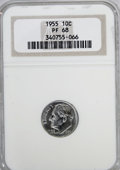 Proof Roosevelt Dimes: , 1955 10C PR68 NGC. NGC Census: (598/60). PCGS Population (93/0).Mintage: 378,200. Numismedia Wsl. Price for NGC/PCGS coin ...