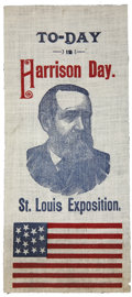 "Political:Ribbons & Badges, Benjamin Harrison: St. Louis Exposition ""To-Day is Harrison Day"" Ribbon...."