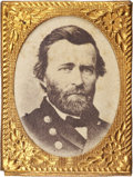 Political:Ferrotypes / Photo Badges (pre-1896), Ulysses S. Grant: Beautiful Gem Size Portrait Pin....