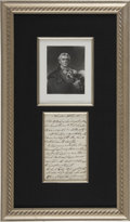 "Autographs:Non-American, Arthur Wellesley Wellington Autograph Letter Signed ""Duke ofWellington"" in the third person. One page, 4.5"" x 7..."