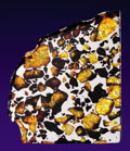 Meteorites:Palasites, IMILAC METEORITE - PARTIAL SLICE OF A PALLASITE,. THE MOSTBEDAZZLING EXTRATERRESTRIAL MATERIAL. KNOWN. ...