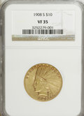 Indian Eagles: , 1908-S $10 VF35 NGC. NGC Census: (5/544). PCGS Population (20/496).Mintage: 59,850. Numismedia Wsl. Price for NGC/PCGS coi...