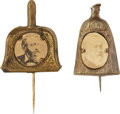 "Political:Ferrotypes / Photo Badges (pre-1896), Benjamin Harrison: Charming Pair of ""Clean Sweep"" Pins.... (Total:2 Items)"