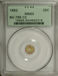 California Fractional Gold: , 1882 25C Indian Octagonal 25 Cents, BG-799CC, R.6 MS63 PCGS. Theportrait and obverse field are apple-green, while the obve...