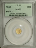 California Fractional Gold: , 1859 25C Liberty Round 25 Cents, BG-801, R.3, MS65 PCGS. Dazzlingfield reflectivity ensures the formidable eye appeal of t...