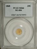 California Fractional Gold: , 1868 25C Liberty Round 25 Cents, BG-806, R.3, MS66 PCGS. Die StateII with a bold die crack across the upper portion of the...