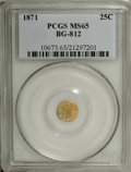 California Fractional Gold: , 1871 25C Liberty Round 25 Cents, BG-812, Low R.5, MS65 PCGS. Theleft obverse field has aqua tints, but the remainder of th...