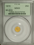 California Fractional Gold: , 1870 25C Liberty Round 25 Cents, BG-833, Low R.6, MS63 PCGS. DieState III with heavy bisecting obverse crack. A luminous l...