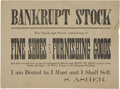 Advertising:Paper Items, Broadside for Bankrupt Stock Sale at Wells, Fargo & Co ExpressBuilding. ...