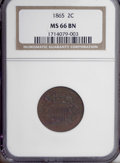 Two Cent Pieces, 1865 2C MS66 Brown NGC....
