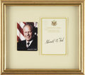 "Autographs:U.S. Presidents, Gerald Ford Bookplate Signed ""Gerald R. Ford"". 3.25"" x 4.5"",with Ford's name and ""38th President of the United States..."