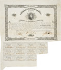 "Miscellaneous:Ephemera, Confederate States of America $100 Loan Bond. One page, 13.75"" x9.5"", June 10, 1862, Richmond, with eleven attached $4 coup..."