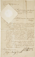 "Autographs:Statesmen, John Hancock Document Signed as governor of Massachusetts. One page, 9"" x 14.75"", Boston, November 12, 1783. From 1780 to 17..."