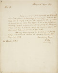 "Autographs:Statesmen, Henry Clay Autograph Letter Signed as U.S. senator from Kentucky.One page, 8"" x 10"", August 10, 1837,..."