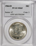 Kennedy Half Dollars: , 1964-D 50C MS65 PCGS. PCGS Population (504/415). NGC Census:(170/104). Mintage: 156,205,440. Numismedia Wsl. Price for NGC...