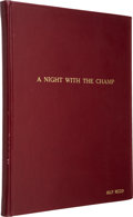 Movie/TV Memorabilia:Memorabilia, Jilly Rizzo's Personal Bound Copy of A Night with the Champ: ATribute to Joe Louis Sinatra Program Book. ...
