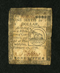 Colonial Notes:Continental Congress Issues, Continental Currency February 17, 1776 $1/6 Very Fine. ...