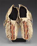 American Indian Art:Beadwork and Quillwork, A PAIR OF SOUTHERN CHEYENNE BEADED HIDE MOCCASINS. c. 1900...(Total: 2 Items)