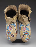 American Indian Art:Beadwork and Quillwork, A PAIR OF PLATEAU BEADED HIDE MOCCASINS. c. 1890. ... (Total: 2Items)