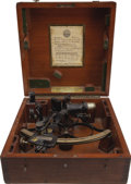 Transportation:Nautical, Naval Sextant: Henry Hughes & Son, in the Original Fitted Mahogany Case with H.M.S. Battleaxe Plaque....