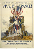 """Military & Patriotic:WWI, World War I Poster: James Montgomery Flagg's """"All for One and Onefor All! Vive la France""""...."""