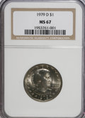 Susan B. Anthony Dollars: , 1979-D SBA$ MS67 NGC. NGC Census: (67/1). PCGS Population (104/0).Mintage: 288,015,744. Numis...