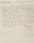 """Autographs:Military Figures, [Henry E. McCulloch] Grand Jury Indictment. One page, 7.75"""" x 9.75"""", April 10, 1840, Gonzales County, Texas. This indictment..."""